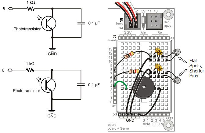 Phototransistor charge-transfer circuit schematics and