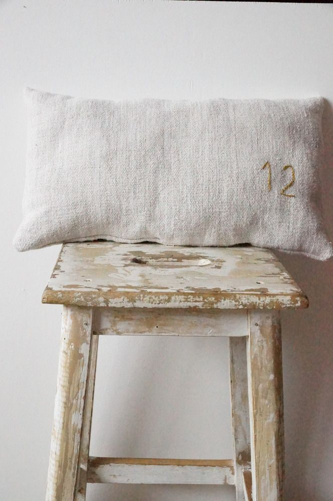 Linen and embroidered number (or letter)...sweet and simple.