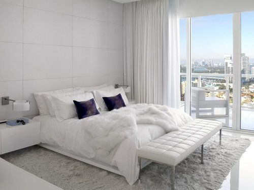 High Rise Condo   Miami, FL Contemporary White Bedroom Decor Ideas