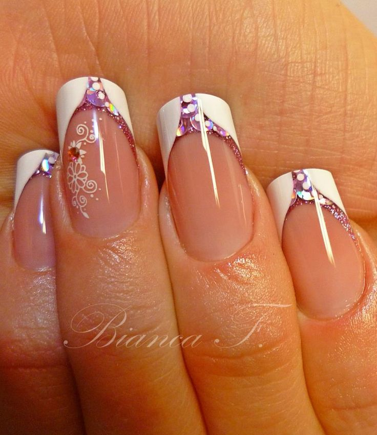 Advanced Nail Art French Nails Pink Sequins with Lace Accent
