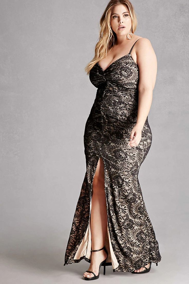 Forever 21+ - A knit lace maxi dress featuring a deep V-neckline, adjustable cami straps, a ruched center-front, a center-front slit, a bodycon silhouette, and an invisible back zipper. This is an independent brand and not a Forever 21 branded item.