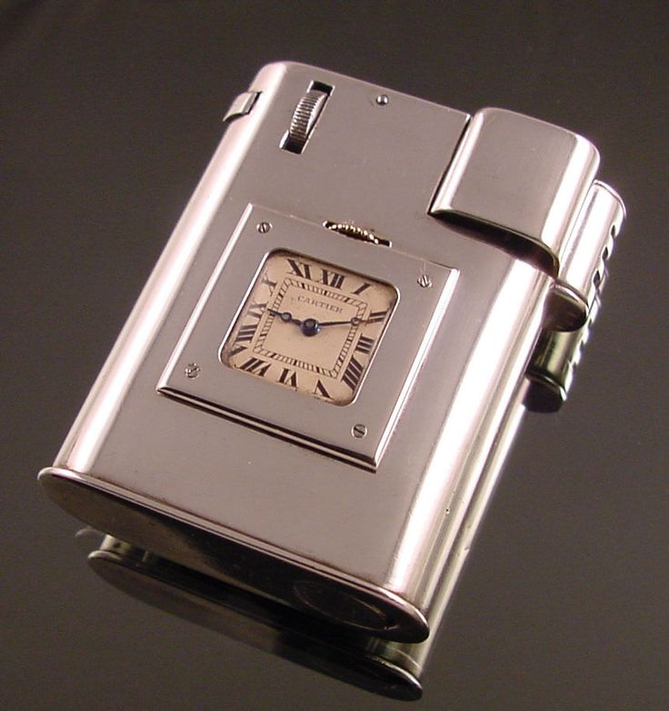 Cartier Sterling Silver Cigarette Lighter With Clock c.1920 Excellent Rare L@@K