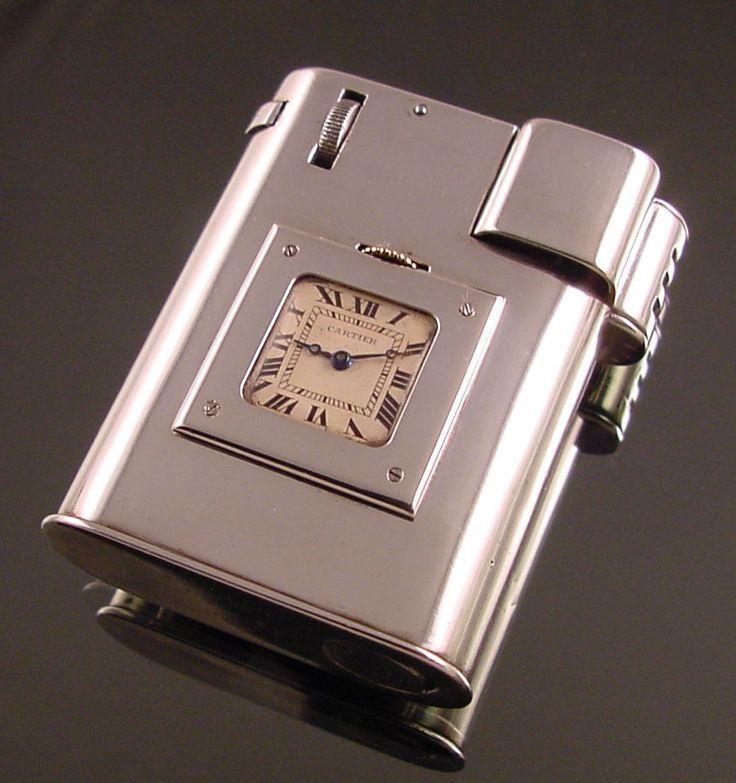 Cartier Sterling Silver Cigarette Lighter With Clock c.1920 Excellent Rare L@@K