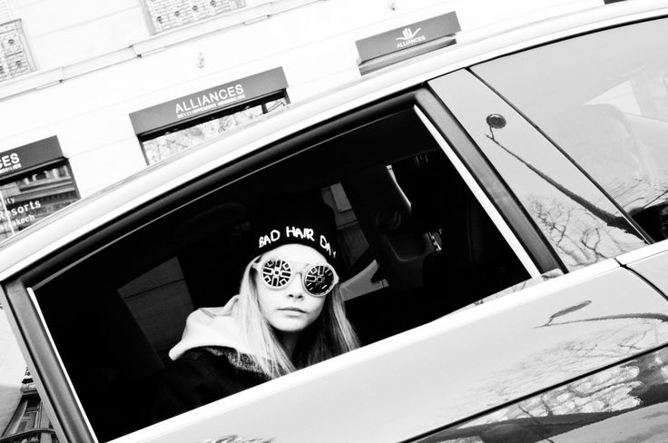 Cara Delevingne en route to a fitting. Photo by Alexis Dahan.