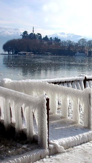 Frozen Winter in Ioannina, Epirus, Greece