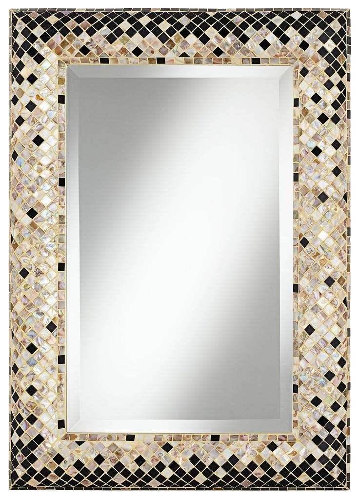"Checkered Sea Shell 33"" Mosaic Wall Mirror - EuroStyleLighting.com"