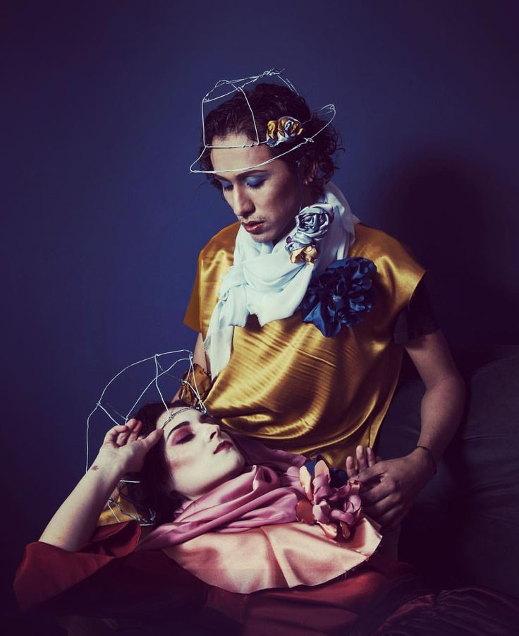 Futurism Fashion PhotoArt by Irina Savina Saveri. www.saveri.net  PhotoArt storytelling by Irina Savina Saveri. Couple and love photo. Crown, flowers with fabric