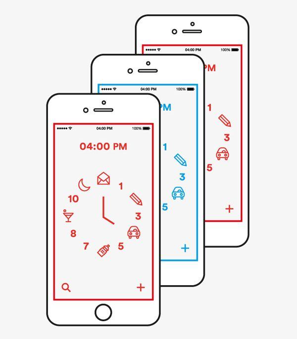 Planner App on Behance 比较幼儿比较卡通,用事件图标替代时钟数字很有意思