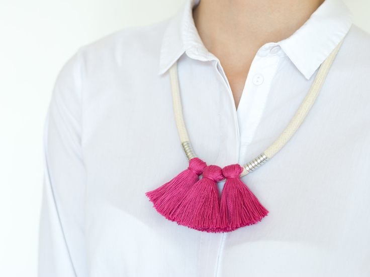 <3 | #deuxsoray #ropejewelry #jewellery #necklace #tasselnecklace #pink #tassel #rope #cotton #silver #simple #collection #design #photo #etsy #handmade #sisters #two #everythingyoucanimagineisreal