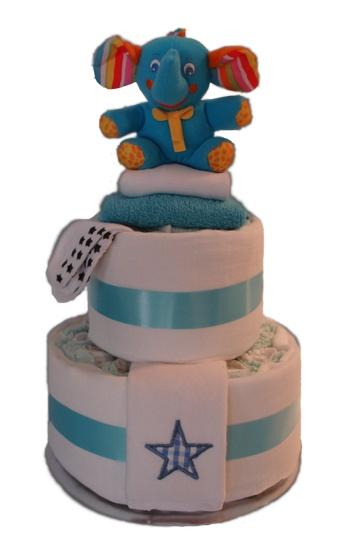 Baby Cake Two Tier    $77.00  26 Huggies Newborn Nappies  1 Baby Zebra/Hippo  1 Newborn Socks  1 Cotton face washer  1 I am A Little Star Bib  1 Singlet - Size 000  2 White Cotton Muslin Wrap - 120 x 120
