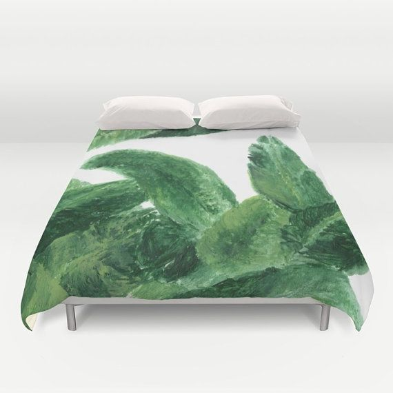 This is a duvet cover with my painting printed on it.  Please choose your size in the drop down menu above: Full (79x79), Queen (88x88) or King (104x88).  About the duvet cover:  - Made of ultra soft microfiber - Sewn by hand - lightweight - The reverse side of the duvet cover is soft white. - The duvet cover has a durable and hidden zipper.  Care:  - Machine wash with cold water on gentle cycle using mild detergent.  <> Please note: Duvet insert is not included.  <> More palm leaf duvet…