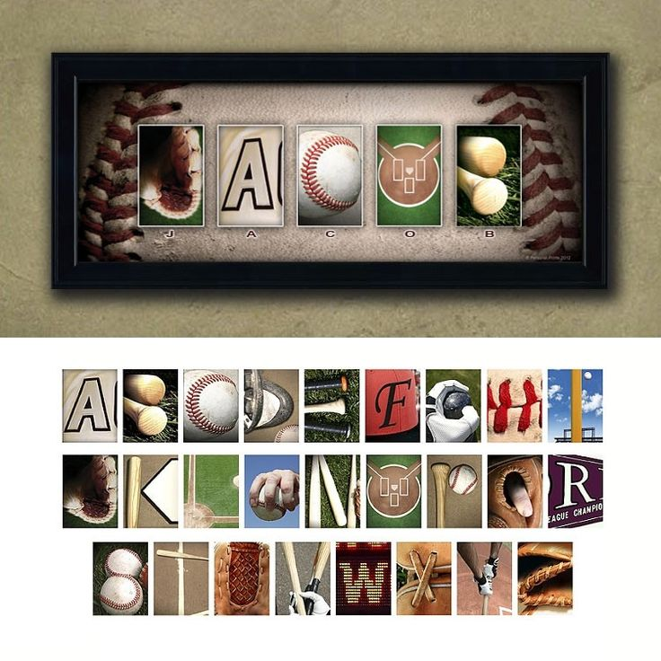 Click here for Baseball Name Art- Personalized gift for the baseball fan... use the baseball themed letters to spell out your personalization.- http://www.personal-prints.com/Baseball-Name-Print--Personalized-Baseball-Art_p_674.html $99.95