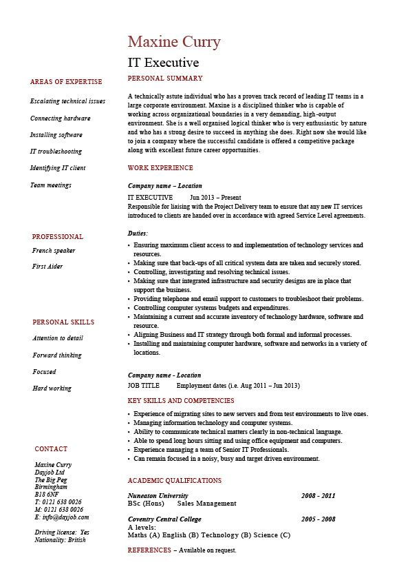 IT Executive, resume, CV, example, sample, format, senior You can