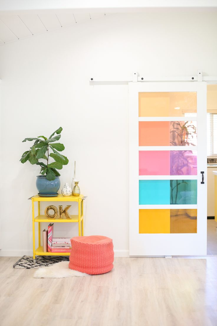DIY Faux Stained Glass Sliding Barn Door - Lovely Indeed