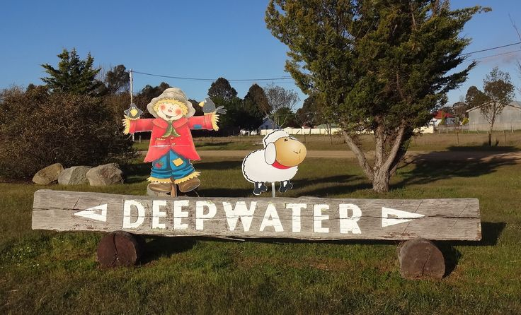 Our larger than life-size logos situated at Southern entrance to the village with the wooden Deepwater sign  The Northern entrance is graced with the two logo signs in a paddock near the roadside