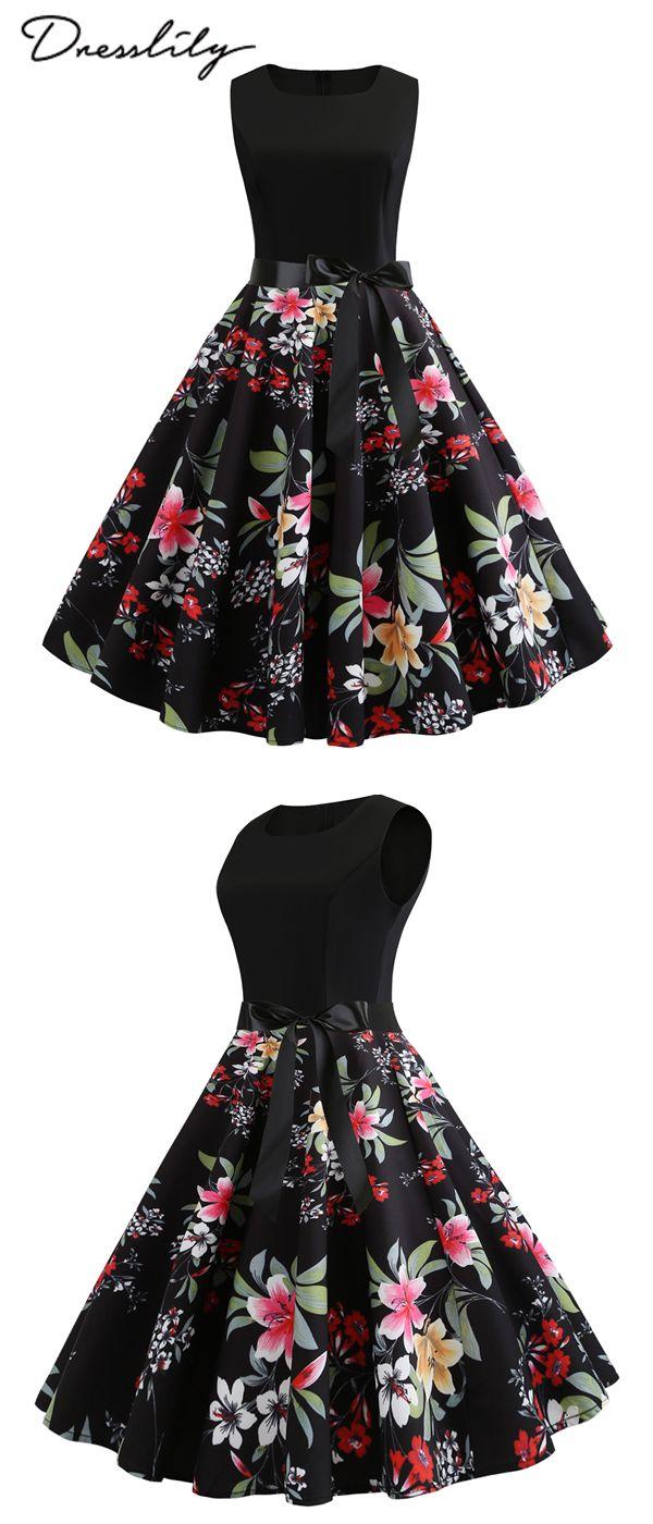 -50% no vestido sem mangas queimado com cinto e laço de flores. 12% de desconto adicional no código: DL123 #dre …