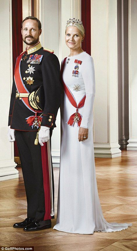 Crown Princess Mette-Marit, pictured left, poses for a solo photograph in a white pleated dress and alongside her husbandCrown Prince Haakon, right
