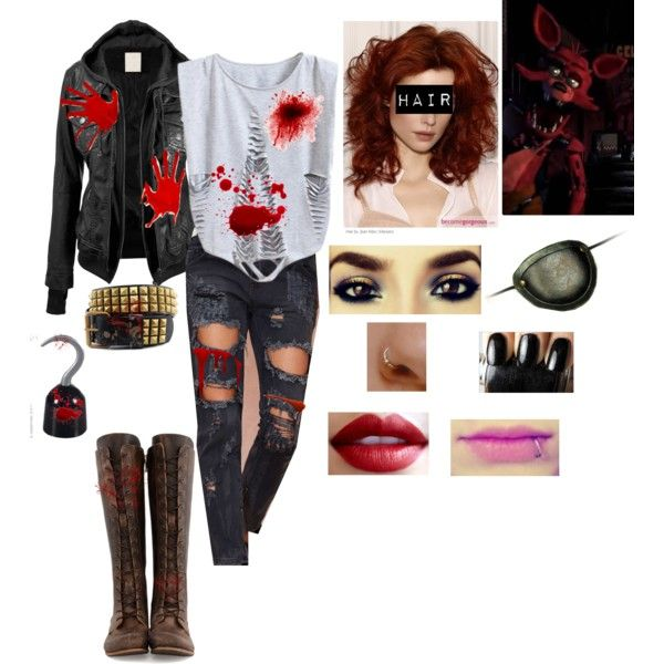 Outfit 58: Foxy the Fox from Five Nights At Freddy's by mandi-hatter on Polyvore featuring moda, One Teaspoon, John Fluevog, fivenightsatfreddy, fnaf and foxythefox