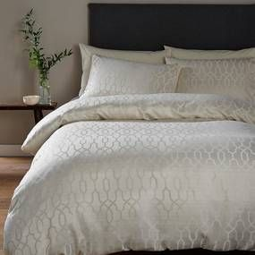 Lattice Jacquard Cream Duvet Cover and Pillowcase Set