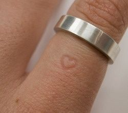 the longer time you will wear it, the heart will permanently leave a mark on the finger and even without the ring.