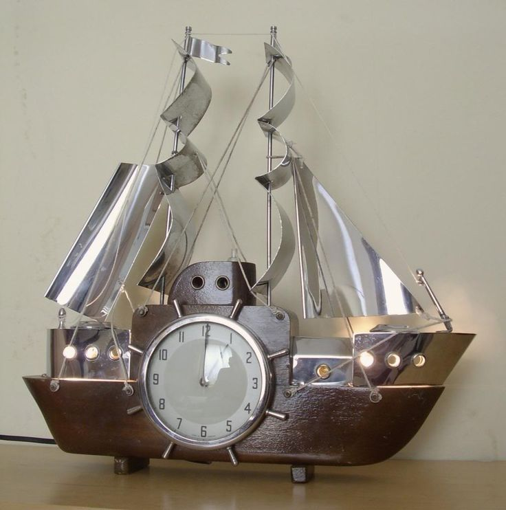 Art Deco Ship: Vintage Art Deco Ship Clock, In