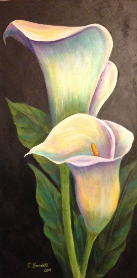 """Beautiful painting idea. I love the subtle rainbow pastel colors. 15"""" x 30"""" calla lily acrylic painting. Please also visit www.JustForYouPropheticArt.com for"""