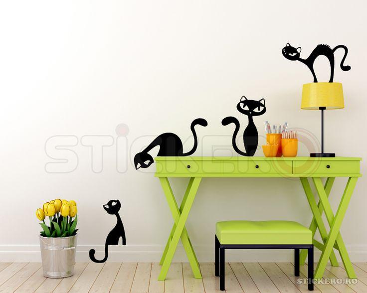 Sticker de perete Set de pisicute negre