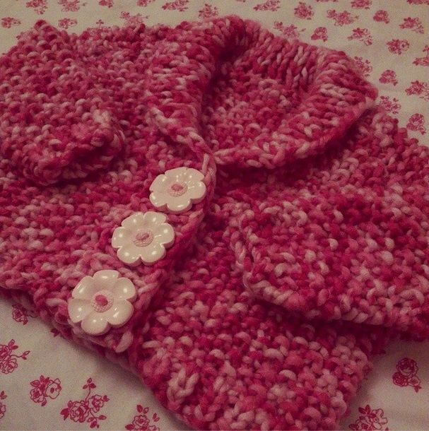 hand knitted super chunky multi pink, baby collar cardigan with huge flower buttons