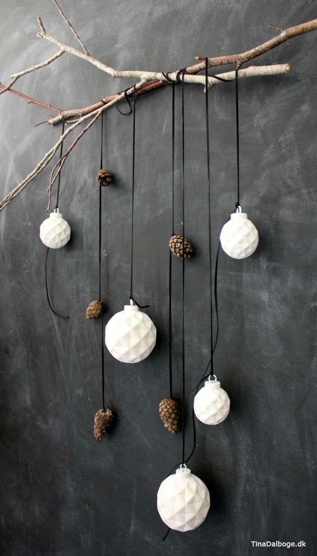 DIY juleophæng kugler i ler med diamantmønster   Kreahobshop