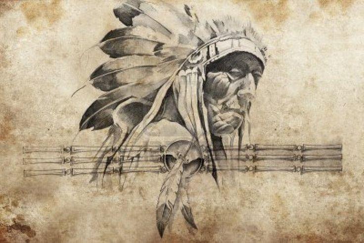 Tattoo schets van Amerikaanse Indianen stamhoofd strijder Stockfoto - 13028731