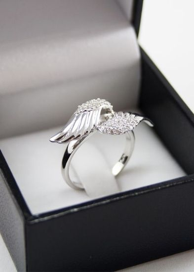 Pi Beta Phi Sterling Silver Angel Wings Ring from GreekGear