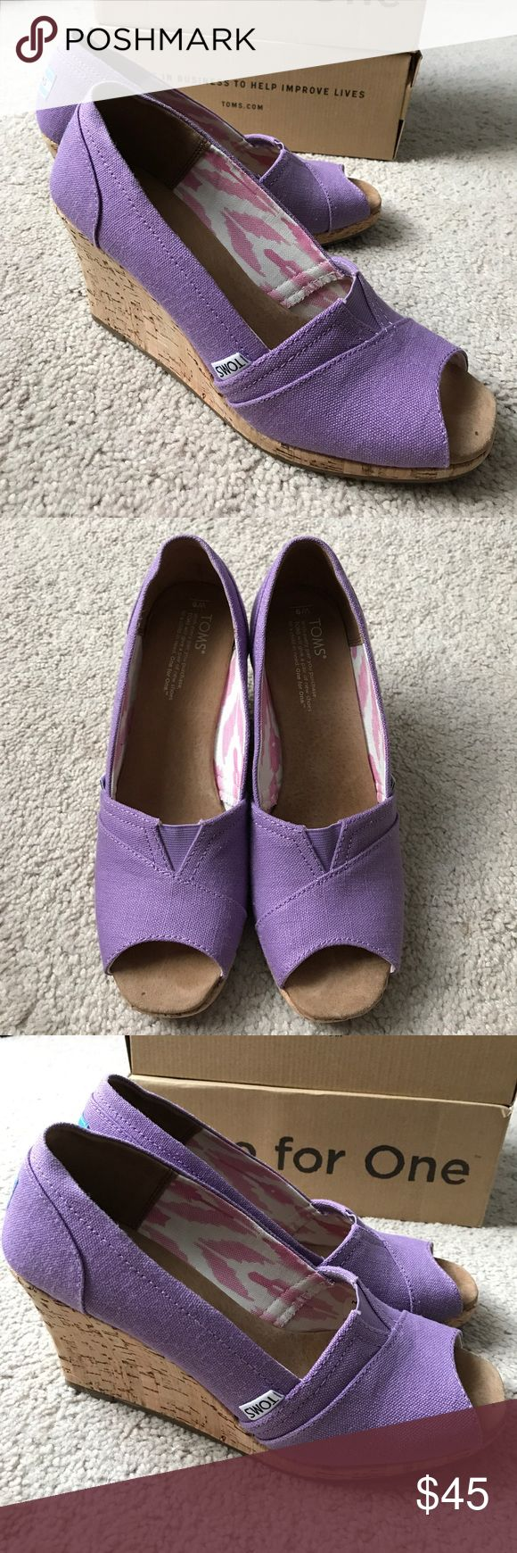 Toms Wedges Ladies Toms Wedges, size 9. Orchid purple hemp. Excellent condition- nearly new!! TOMS Shoes Wedges