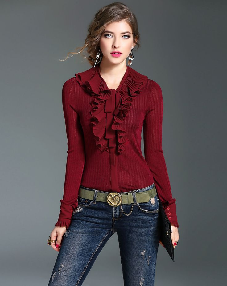 #AdoreWe #VIPme Blouses & Shirts - mojaser Red Ruffled Long Sleeve Plain Bodysuit Blouse - AdoreWe.com
