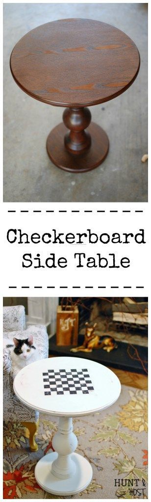 Checkerboard Table Makeover: the #furnitureREFRESH friends are at it again. Great makeovers starting with this plain side table turned to a checkerboard beauty! www.huntandhost.net