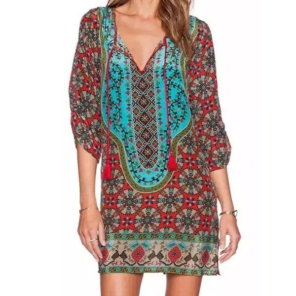 $21.44 Vintage Style V-Neck 3/4 Sleeve Full Print Dress For Women