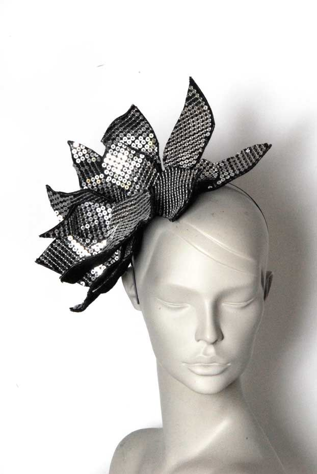 Wicked by Ipek Yaylacioglu Occasion millinery hats & hair accessory - Matte sequin fabric fascinator