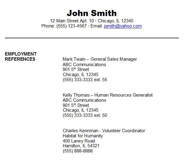 Job Reference Format Reference Page For Resume Resume References Job Reference