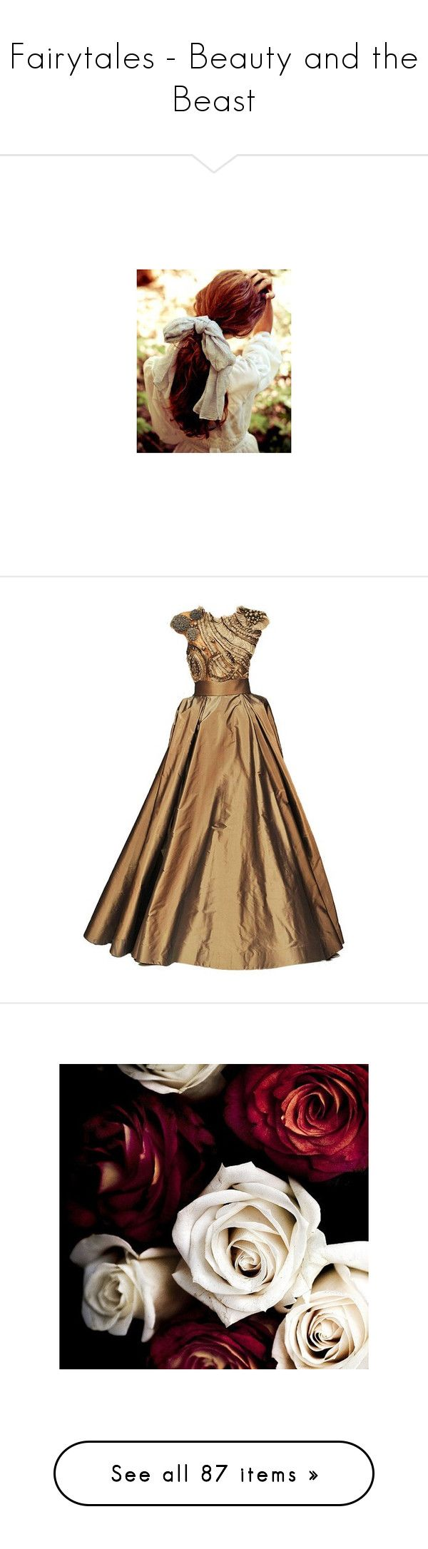 """""""Fairytales - Beauty and the Beast"""" by kerry6590 ❤ liked on Polyvore featuring hair, backgrounds, pictures, people, pics, dresses, gowns, long dresses, ball gowns and brown evening dress"""