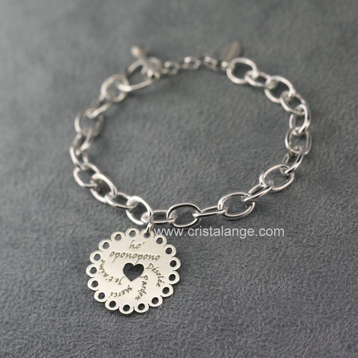 Bracelet XL breloque Ho oponopono fleurette Cristalange 160221 B H 1510 : Bijoux Cristalange pour lithothérapie en pierres fines et bijoux anges