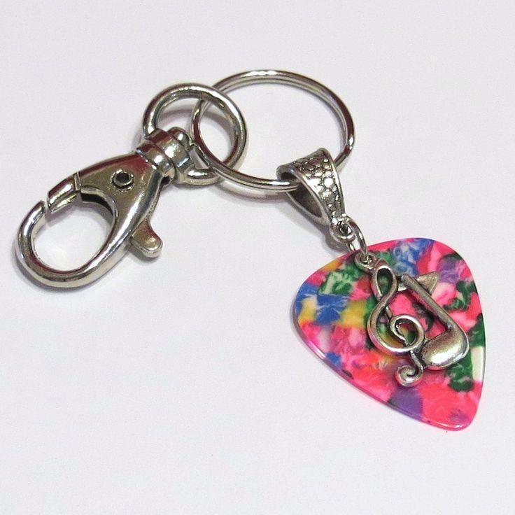 Guitar Pick KeyChain - Guitar Pick Jewelry - Multicolor - Music Charm - Music Note - Treble Clef - Music Key Chain - Pick Key Chain. $7.99, via Etsy.
