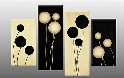 Large Black and Cream Abstract Canvas Picture Wall Art  Split Multi 4 panel set
