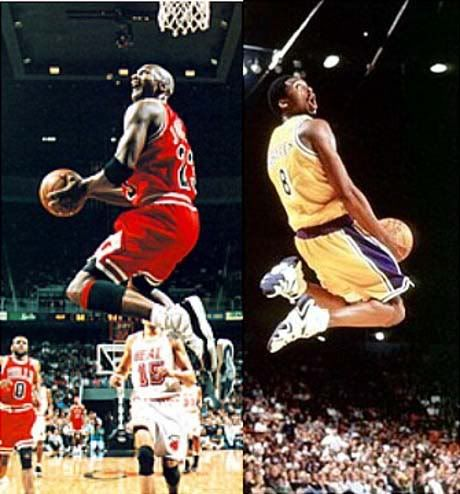 Kobe Bryant used to say that he looked up to Michael Jordan as a kid playing basketball and as a result they have shockingly identical plays. I think we could also use this angle with maybe siblings as people look up to their older siblings. If we could make a photo like this it would be even better and really emphathize our theme.