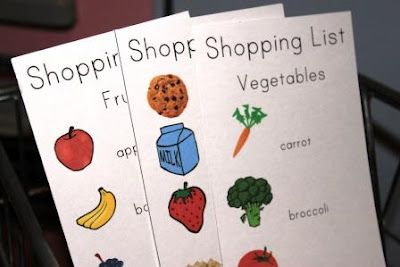 Shopping Lists for Pretend Play