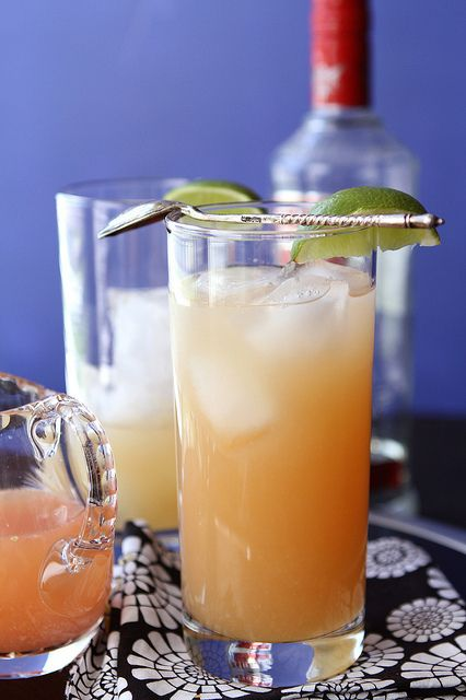 Pink Grapefruit Greyhound. Pink grapefruit juice, vodka, agave nectar, ice, & lime wedges for garnish.  Sounds Scrumptious!