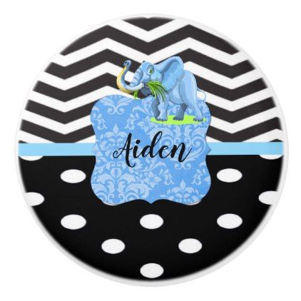 Modern Black Chevron Polka Dots Elephant Monogram Ceramic Knob - baby gifts child new born gift idea diy cyo special unique design