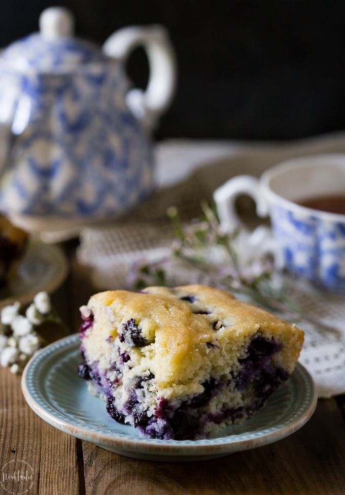 Perfect Gluten Free Blueberry Cake, it's super easy to make from scratch and a real treat for breakfast! It's dairy free too and you can freeze the leftover cake for later.