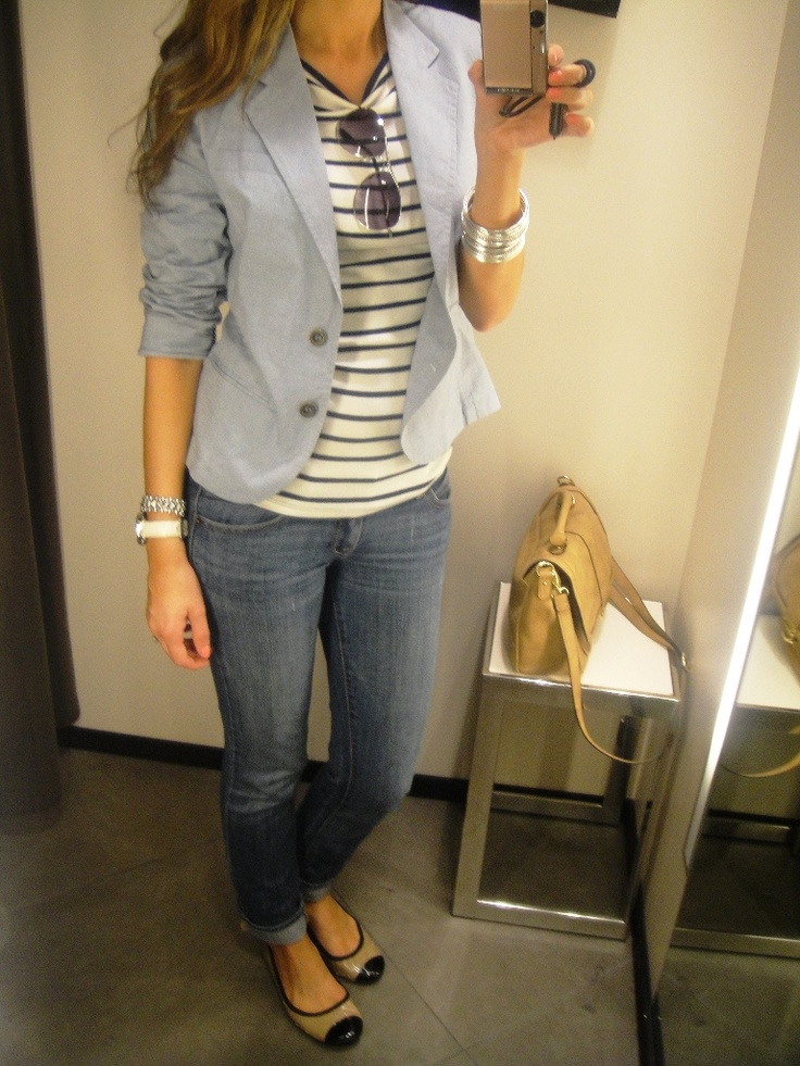 Stripped shirt blazer jeans: Shoes, Casual Friday, Lights Blue Blazers, Cute Outfits, Jackets, Blazers Jeans, Lilly Style, Flats, Stripes