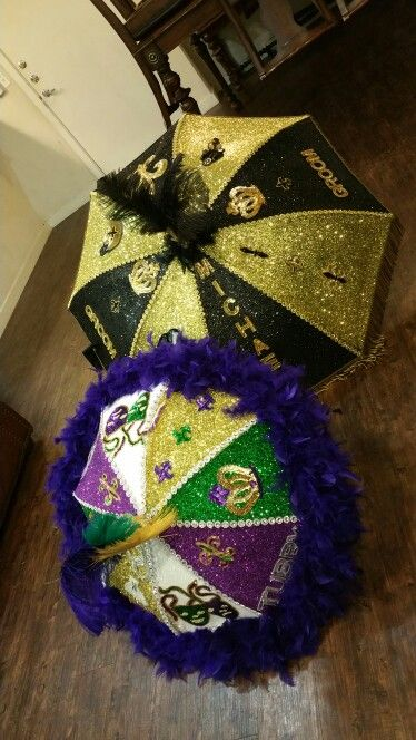 His and Hers Mardi Gras /New Orleans Saints Themed Wedding Secondline Umbrellas created by Sincerely Yours, Juana. Get yours Today!