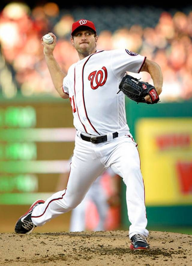 Washington Nationals starting pitcher Max Scherzer delivers a pitch during the third inning of a baseball game against the Chicago Cubs, Tuesday, June 27, 2017, in Washington. The Nationals won 6-1.