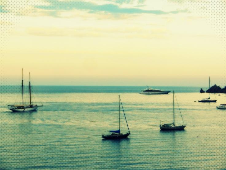 Côte d'Azur near Cannes sundown boats